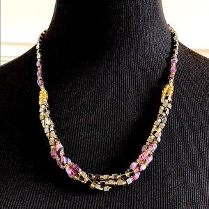 Multi Glass Beaded Necklace Purple, Black & Gold